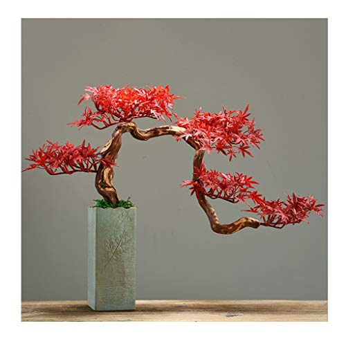YBYB Artificial Tree Artificial Bonsai Tree, Faux Red Maple Potted Plant, Desk Display Fake Tree Pot Ornaments for Home Room Garden Decoration Fake Tree (Color : A)