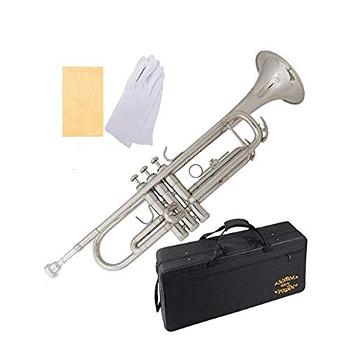 Glory Brass Bb Trumpet with Pro Case +Care Kit, Nickel Silver, More COLORS...