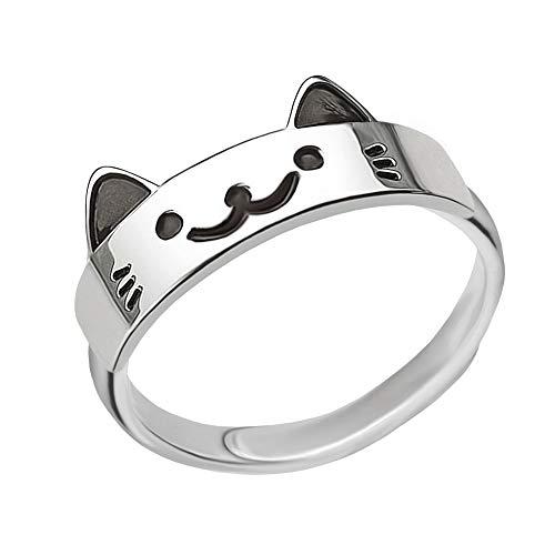 Clever Schmuck Anillo de plata para niña con diseño de gato con cara en parte negra lacada brillante, plata de ley 925, tamaño universal ajustable para niños