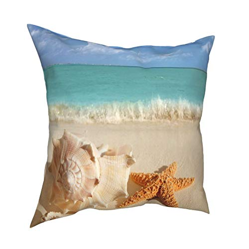 16x16 Throw Pillow Covers Set of 4 Sea Shells Starfish Decorative Couch Pillow Cases Cushion Cover Sofa Soft Standard Zippered Square Cute Pillowcase for Living Room