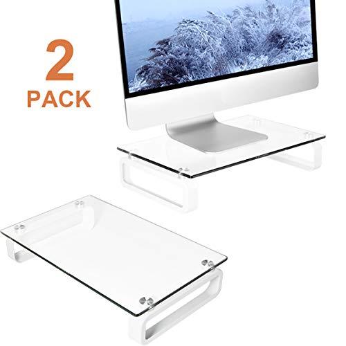 2 unidades de soporte para monitor de ordenador, soporte multimedia para pantalla plana LCD LED TV, portátil, portátil, Xbox One, con cristal templado y patas de metal, HD02T-201