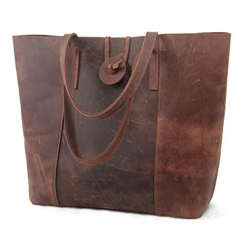 Jack&Chris Premium Leather Tote Bag, Vintage 15'Laptop Bag, Large Shoulder Purse Handbag for Women MC506 Red Brown