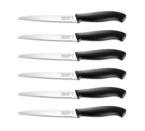 Betty Bossi 6er Messer Set Steakmesser Pizzamesser scharf   scharfe Küchenmesser   Steak Knife Set Knives   Messerset Frühstücksmesser Brötchenmesser Gemüsemesser Swiss Made