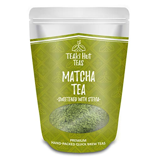 TEAki Hut Matcha Green Tea Powder Sweetened With Stevia, No Sugar or Carbs Added, Sweet Matcha Latte Mix, Culinary Grade, Frappe Smoothie Blend, 4 oz / 100 servings