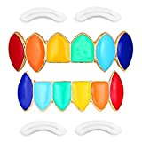 'Rainbow Grillz with Fangs for Mouth Top Bottom Hip Hop Teeth Grills for Teeth Mouth + 2 Extra Molding Bars, Storage Case + Microfiber Cloth'