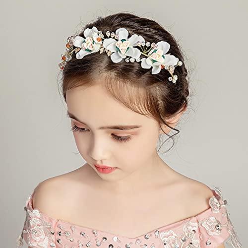 IYOU Diadema floral de cristal dorado bowknot vestido de princesa flor primera comunión Tiaras accesorios para el pelo para niñas de flores y dama de honor