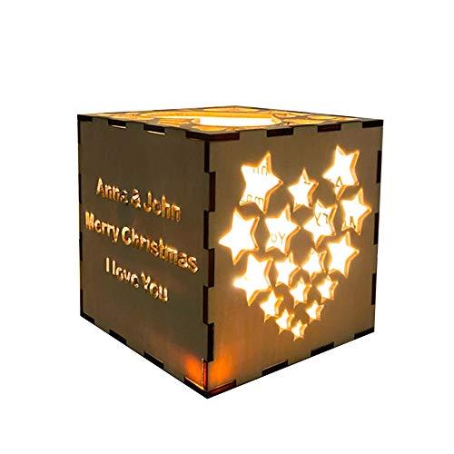 MaquiGra Luz de Noche de Cubo de Rubik de Madera Personalizada Lámpara Nocturna LED Personalizada con Texto diseño Hueco Tallado luz de Noche LED Personalizado Novio/Novia/Amigo