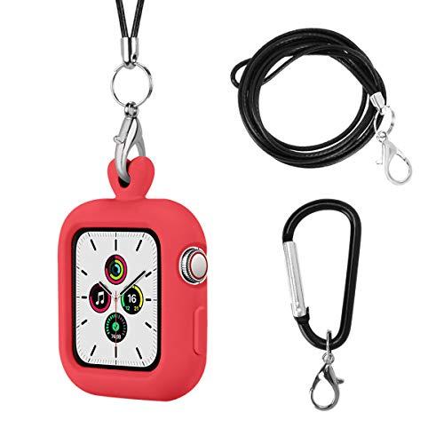 Vozehui Para correa de collar compatible con Apple Watch 44 mm 40 mm, carcasa protectora de silicona de repuesto con iWatch Series 6/5/4/3/2/1 (40 mm 44 mm)