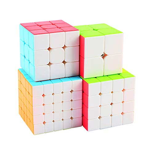 Stickerless Speed Cube Set ,5x5x5+4x4x4+3x3x3+2x2x2 Magic Cube Puzzle 4 Pack Travel Toys for Gift