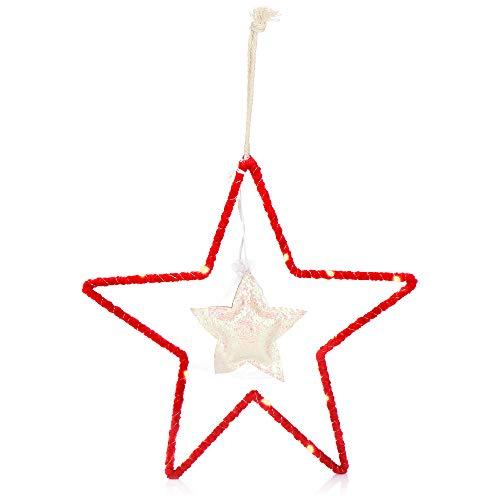 com-four® Estrella de Navidad para Colgar - Estrella LED como iluminación Decorativa para Navidad - Decoración navideña a Pilas - Decoración de Ventanas (Rojo. Blanco)