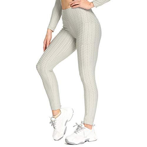 ZYQZYQ Pantalones de Yoga Sexy Fitness Deportes Leggings Jacquard Deportes Leggins Hembra Correr Pantalones Gimnasio Alto Cintura Yoga Apretado con Bolsillos (Color : Gray, Size : Medium)