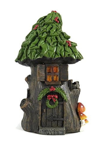 Darice Christmas in The Woods Fairy House with Holly Roof
