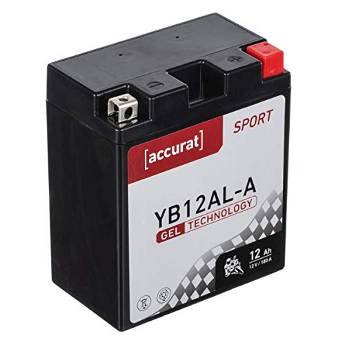 Accurat Motorradbatterie YB12AL-A 12Ah 180A 12V Gel Technologie Starterbatterie in Erstausrüsterqualität zyklenfest sicher lagerfähig wartungsfrei