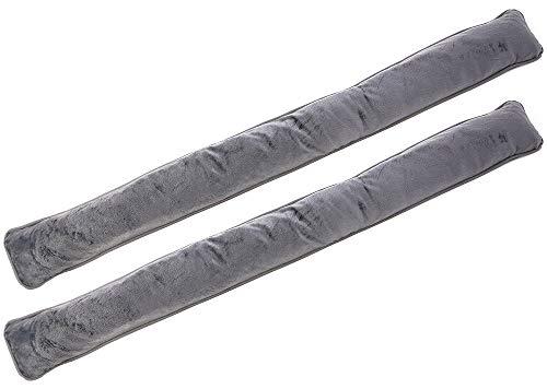 COM-FOUR® 2x tochtstop voor deuren en ramen - windstopper in microvezel - bespaar energie met tochtstopper (02 stuks - grijs)