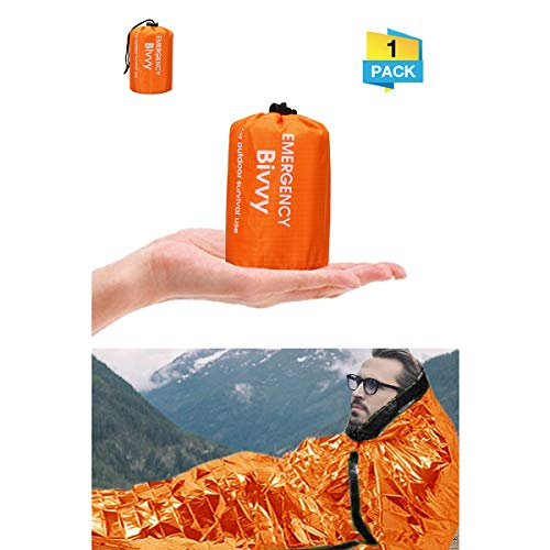 Charminer Emergency Sleeping Bag,Survival Sleeping Bag PE Aluminum Film, Bivvy Bag Lightweight Reflective Lining Interior, thermal for Music Festivals/Outdoor Camping/Hiking(Orange)