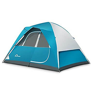 ALPRANG Backpacking Tent – Lightweight Mountaineering Tent Material, Waterproof, High Visibility Camping Tent with Large Vents and Storage Pockets (Blue+ White)