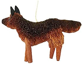 Holiday Lane Bristle Brush Buri Holiday Christmas Ornament, Brown Dog