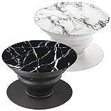 Brant - Support et Grip pour Smartphone et Tablette - Marbre Blanc et marbre Noir(2 Pack)