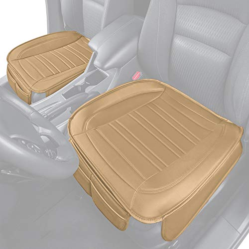 Motor Trend Beige Universal Car Seat Cushions, Front Seat 2-Pack – Padded Luxury Cover with Non-Slip Bottom & Storage Pockets, Faux Leather Cushion Cover for Car Truck Van and SUV