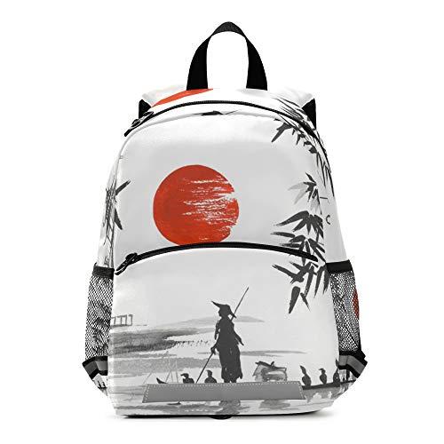 Mochila de pintura japonesa para niños con correa en el pecho, mochila escolar preescolar, para niños y niñas
