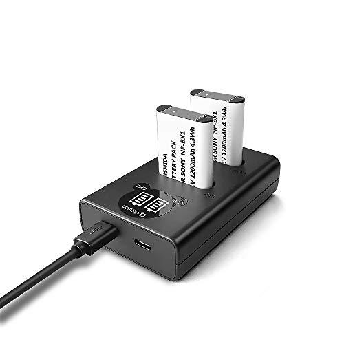 NP-BX1 Onshida Batterie de Rechange avec Chargeur et Port Micro USB & USB-C pour Sony NP-BX1/M8 Sony Cyber-Shot DSC-RX100,DSC-RX100 II,DSC-RX100M Il, HDR-CX405, DSC-HX50V, DSC-HX300, DSC-HX400