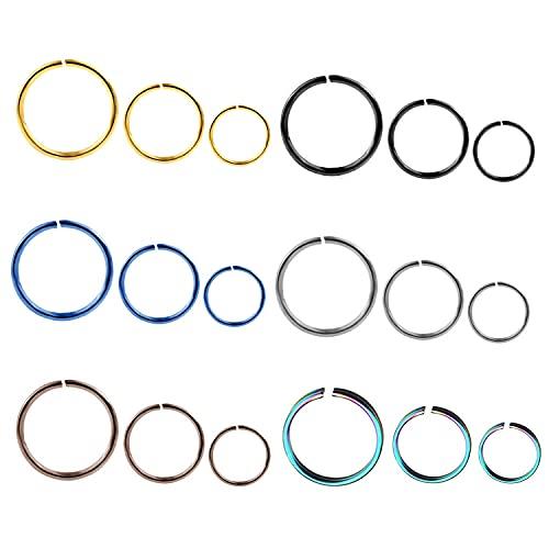 Liuxn 18 Piezas de Aro de Nariz de Acero Inoxidable 20 Gauge Anillo Pendiente para Piercing de Cuerpo, 6 Colores, 3 Tama?os