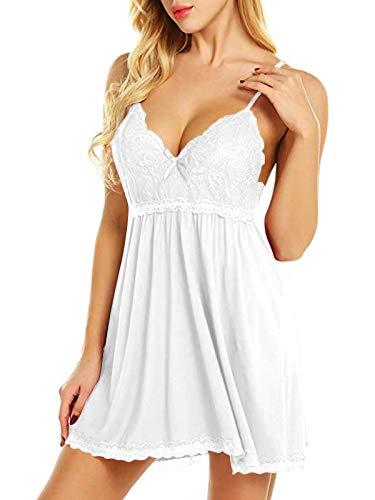 YOINS Camisón Sexy Mujer Ropa de Dormir Lencería Sujetador de Encaje con Cordón Vestido de Noche Regalo del Día de San Valentín Blanco S