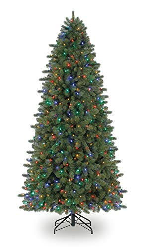 Evergreen Classics 7.5 Feet Pre-Lit Vermont Spruce Artificial Christmas Tree, Remote-Controlled Color-Changing LED lights