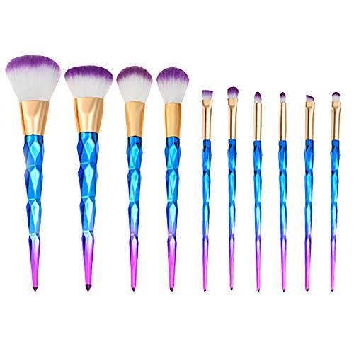Makeup Brush Set,10 Pcs Makeup Brush Professional Makeup Brushes Gradient Color Spiral Rod Makeup Brush Set Unicorn Beginner Beauty Makeup Tools,Bleu