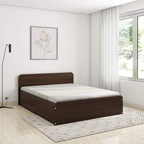 Amazon Brand - Solimo Polaris Engineered Wood Oak Finish Queen Bed with Box Storage (Imperial...