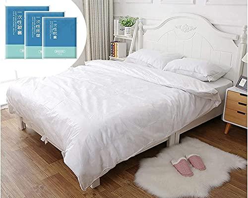 WGT Einweg-Bettwäsche-Set, 1 Einweg-Bettlaken, Bettdeckenbezug, 2 Kissenbezüge, für Reisen, Hotel, Geschäftsreise, Krankenhaus, Spa, atmungsaktiv, weicher Komfort, King Doppelbett, 4-teiliges Set