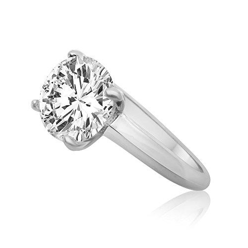 Velini Solitaire Ring für Damen, 925 Sterling Silber, rhodiniert, Luxus, mit großem Zirkonia Edelstein – funkelt wie ein echter Diamant, Verlobungsring (6mm, 64 (20.4))