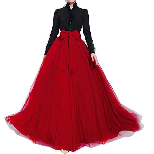 Women Wedding Long Maxi Puffy Tulle Skirt Floor Length A Line with Bowknot Belt High Waisted for Wedding Party Evening(Red,Large-X-Large)