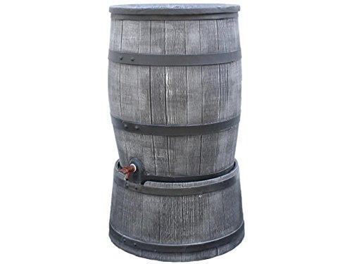 Regentonne anthrazit Roto 120 Liter holzoptik (Inkl. Deckel, Hahn und Aufsetzfuß) [Regentonnen, Regenwassertonne, Wassertank, Regentank]