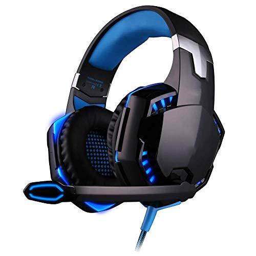 Gaming headset, bass gaming koptelefoon met LED-licht ruisonderdrukking microfoon en volumeregeling voor PS4, PC, Xbox One, laptop, Mac, blauw blauw 412726