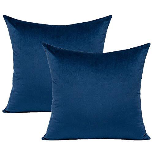 VAKADO - Funda de cojín de terciopelo, 40 x 40 cm, supersuave, cuadrada, decorativa, funda de almohada para dormitorio, salón, sofá, cama, coche, juego de 2, color azul oscuro