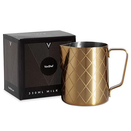 VonShef Milchkanne Gebürstetes Gold - 330ml (11oz) Edelstahl Milchkanne zum Aufschäumen -Kaffee Latte Café Cappuccino