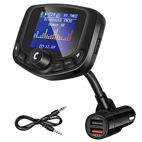 """ORIA Bluetooth FM Transmitter, 1.8\"""" Farbbildschirm Car Kit Auto Radio Adapter Freisprecheinrichtung mit QC3.0 USB Ladegerät, Schwanenhals KFZ Transmitter Unterstützt USB/TF Carte/Aux & EQ Mode"""