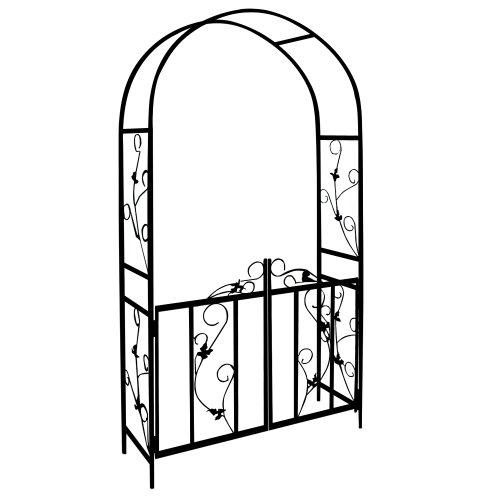 Deuba Rosenbogen mit Tor Rankgitter Gartentor Rankhilfe | 225 x 115 x 37 cm | Metall - Tor verriegelbar | Farbe: schwarz