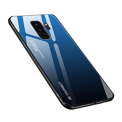 Carcasa para Galaxy S9 Plus, cristal templado, parte trasera con marco de silicona TPU suave, color degradado, funda para Galaxy S9 Plus (Galaxy S9 Plus, azul y negro)