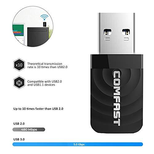 VHS WLAN Stick WLAN Adapter USB 3.0, 1300Mbit/s Dualband (2,4GHz/400Mbps + 5GHz/867Mbps) WiFi Adapter für PC/Desktop/Laptop unterstützt Windows 7/8/8.1/10/XP, MAC 10.9-10.14