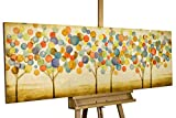 KunstLoft Acryl Gemälde 'Buntes Herbstlaub' 150x50cm   original handgemalte Leinwand Bilder XXL   Bunte abstrakte Bäume im Wald auf Beige Gold Bunt   Wandbild Acrylbild einteilig mit Rahmen