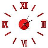 DHGER Relojes Pared Modernos, Pegatina 3D Inicio Espejo Efecto 4 Estilo Pegatinas de Pared 3D Moderno DIY Interior Reloj Romano Reloj de Pared Reloj de Pared (Color : Red)