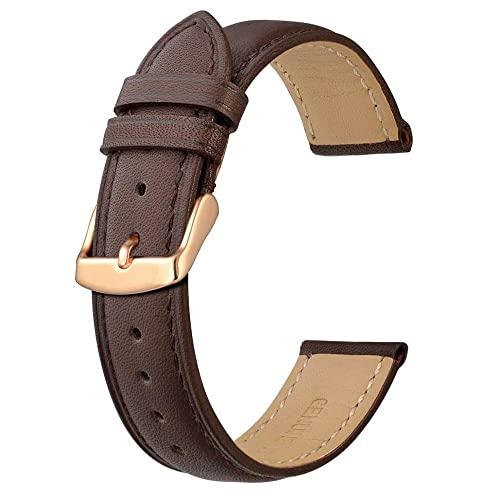 PINGZG Reloj Band 14mm 16mm 18mm 19mm 20mm 21mm 22mm 23mm 24mm Rose Oro Hebilla Pulsera de reemplazo (Color : Brown-Brown Line, Size : 23mm)