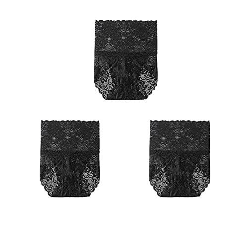 HAIBI Damen Unterhosen Panties 3 Stück Damen Höschen Spitze Höschen Plus Size Hohe Taille Weiblich Sexy Dessous Nahtlose Slips Unterhose Verschluss, Schwarz Schwarz Schwarz, 3XL