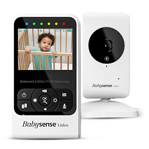 New Babysense Video Baby Monitor with Camera and Audio, Long Range, Room Temperature, Infrared Night Vision, Two Way Talk Back, Lullabies and High Capacity Battery, Model V24R