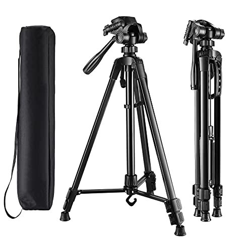"""Laser Level Tripod with Carry Bag, Elikliv Lightweight Adjustable Aluminum Alloy Tripod Stand for Rotary and Line Lasers (Support 1/4"""" and 5/8"""