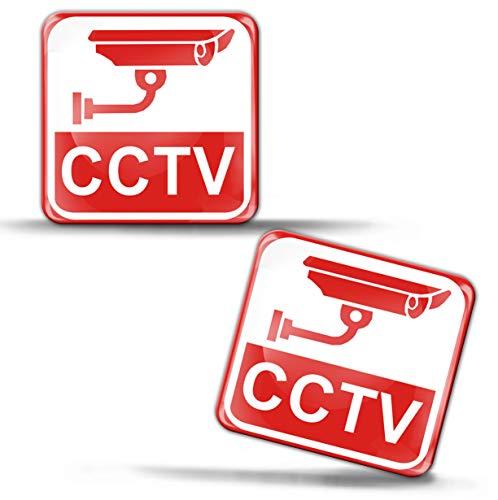 SkinoEu® 2 Stück Aufkleber 3D Gel Stickers Achtung Warnung Kamera-Überwachung Überwachungskamera Gelände CCTV Kamera Video Überwachung Sicherheit Warnhinweis Auto Motorrad Fenster Tür KS 50