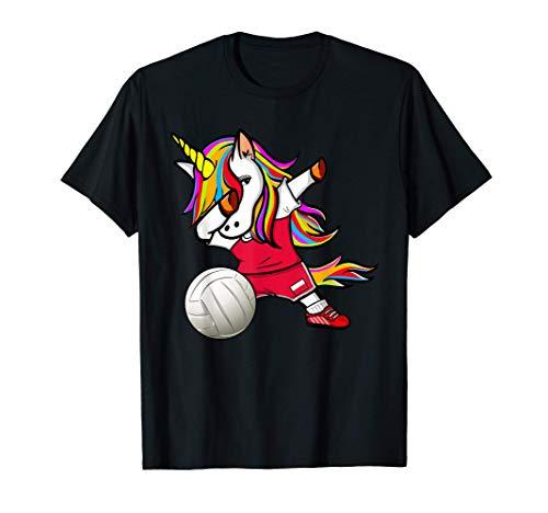 ダンスユニコーンポーランドバレーボールチームポーランド国旗-スポーツ愛好家 Poland Volleyball Fans Tシャツ