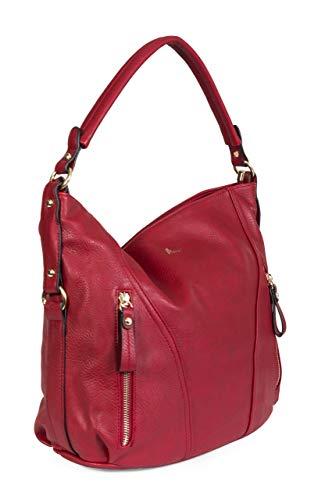 Big Handbag Shop Umhängetasche für Damen, einfacher Reißverschluss-Effekt, groß, Rot - rot - Größe: Einheitsgröße